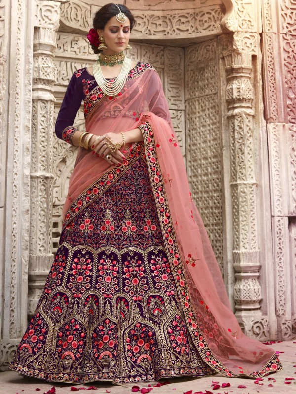 Pure Satin Silk Wedding Wear Lehenga In Violet With Stone Work