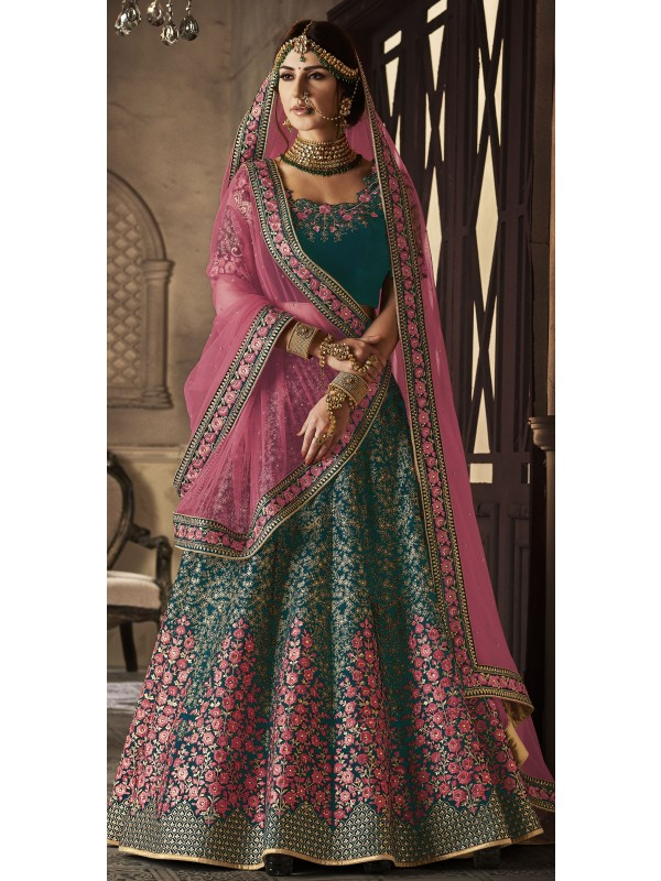 Pure Micro Velvet Wedding Lehenga In Green With Stone Work