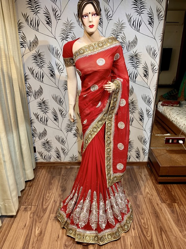 Georgette Wedding Wear Saree In Red With Embroidery Work & Stone Work