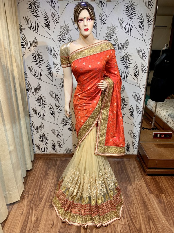 Jacquard Silk Wedding Wear Saree In Orange With Embroidery Work & Stone Work
