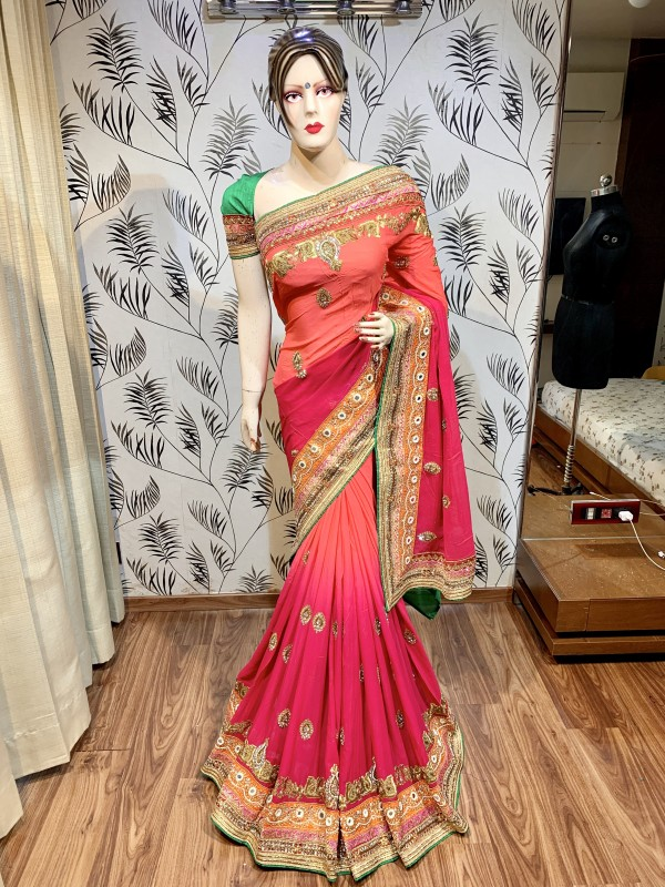 Pure Georgette Wedding Wear Saree In Pink With Embroidery Work & Hand Work