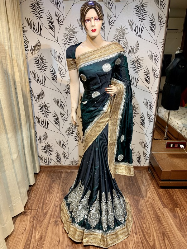 Kiara Silk Wedding Wear Wear Saree In Green With Embroidery Work & Stone Work