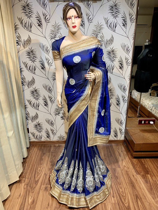 Kiara Silk Wedding Wear Wear Saree In Blue With Embroidery Work & Stone Work