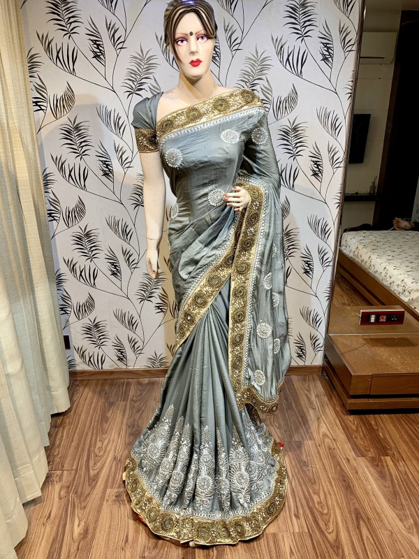 Kiara Silk Wedding Wear Wear Saree In Grey With Embroidery Work & Stone Work