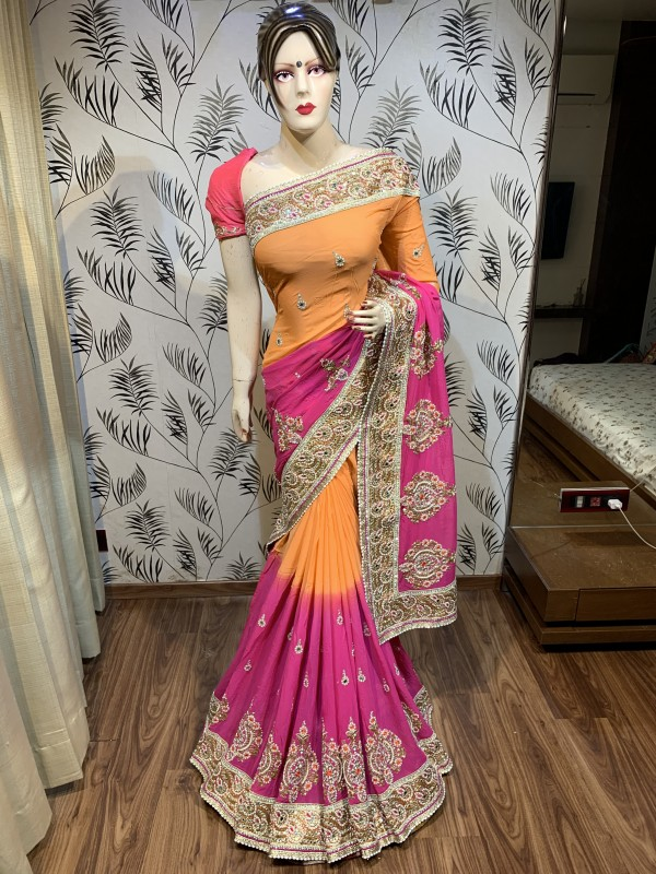 Pure Georgette Wedding Wear Wear Saree In Orange&  Pink With Embroidery Work & Stone Work