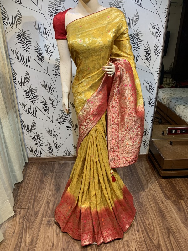 Pure Natural Dola Silk Wedding Wear Saree In Mustard Color