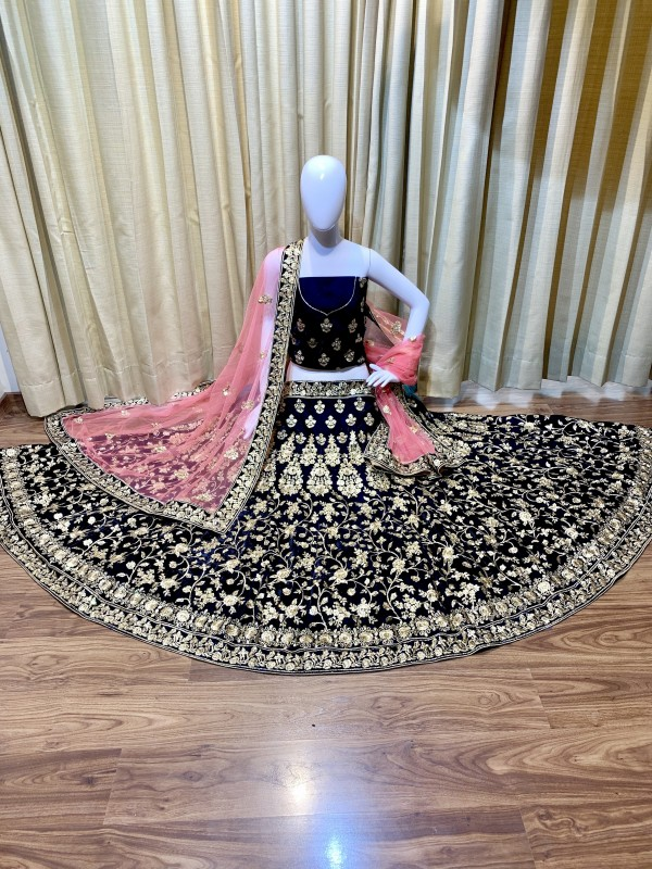 Pure Micro Velvet Wedding Wear Lehenga In Blue Color With Embroidery Work & Stone Work