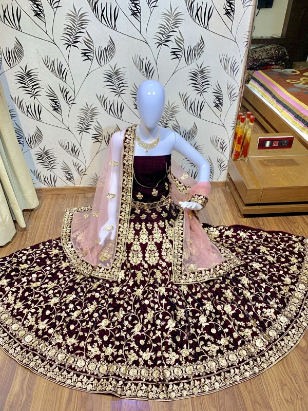 Pure Micro Velvet Wedding Wear Lehenga In Wine Color With Embroidery Work & Stone Work