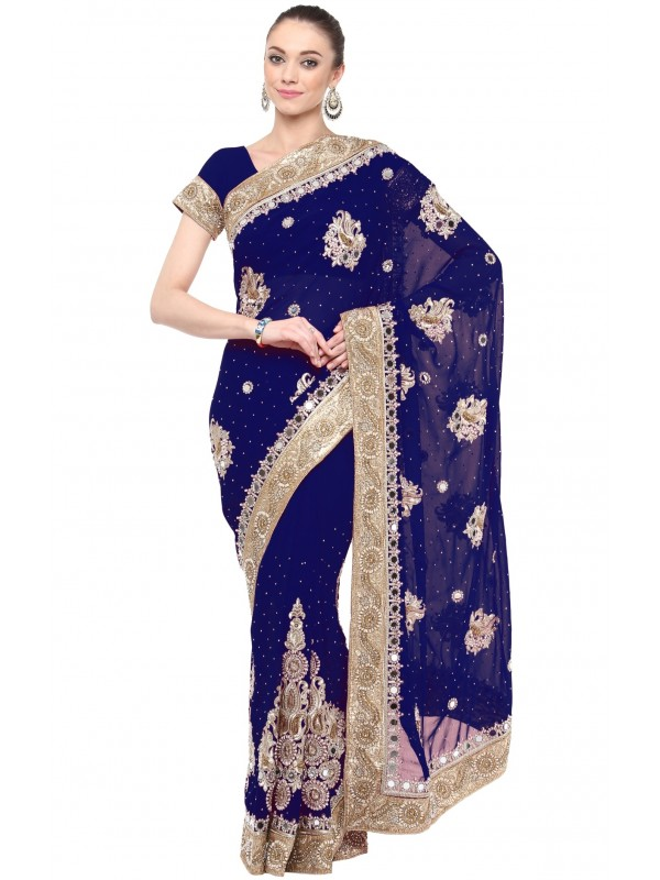 Georgette Wedding Wear Saree In Blue With Embroidery & Crystals Stone Work