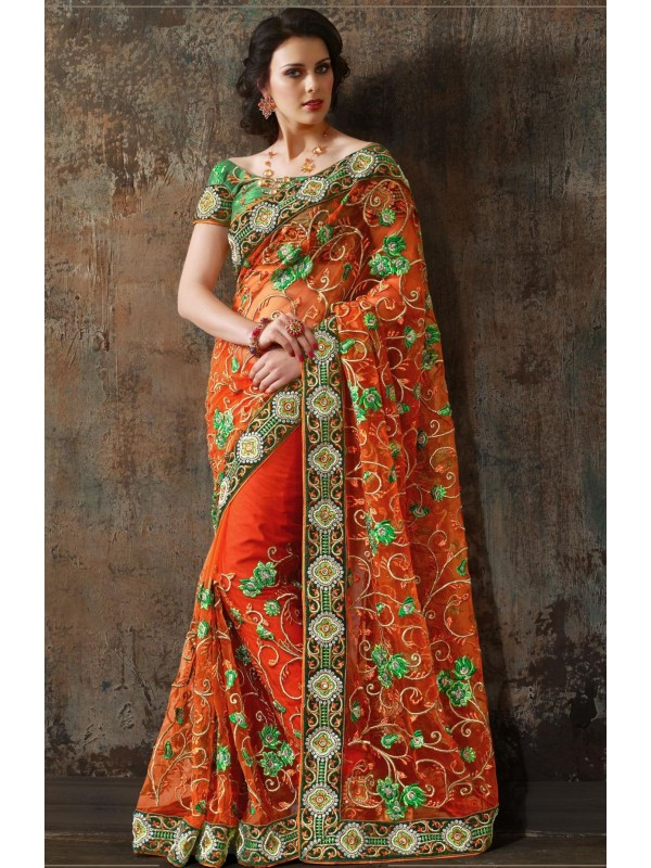 Soft Premium Net Wear Saree In Orange With Embroidery & Crystals Stone Work