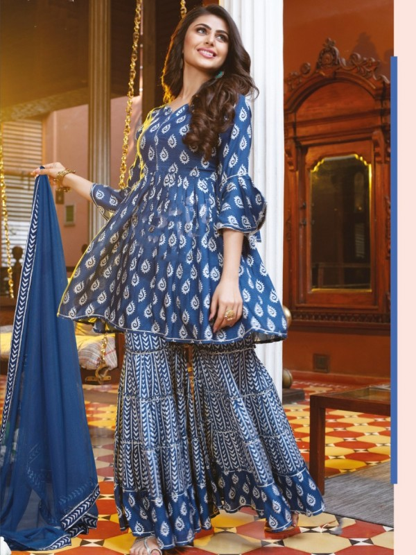 Mul Cotton Party Wear Sharara  in Blue   Color