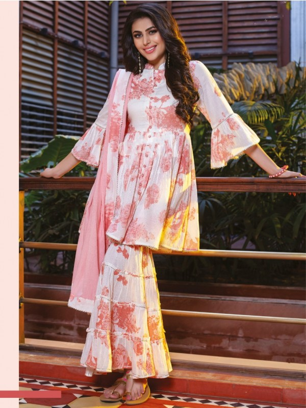 Mul Cotton Party Wear Sharara  in Off White & Pink  Color