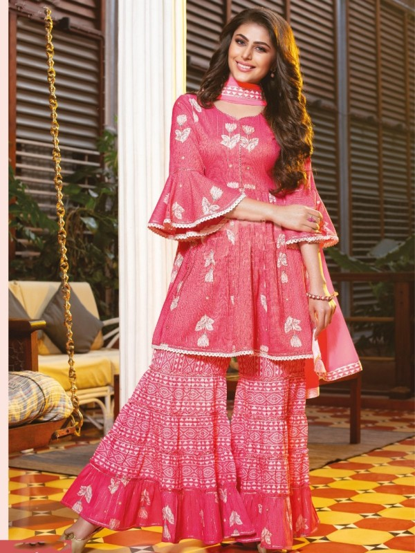 Mul Cotton Party Wear Sharara  in  Pink  Color