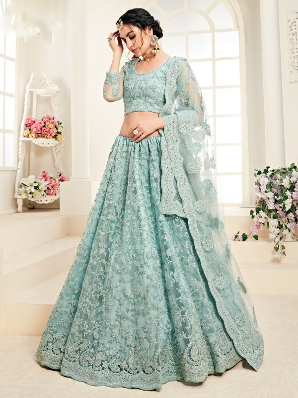 Soft Premium Net  Party Wear Lehenga In Sky Blue With Embroidery Work