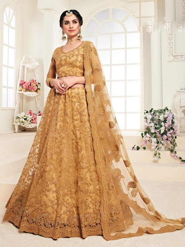 Soft Premium Net  Party Wear Lehenga In Mustard  With Embroidery Work