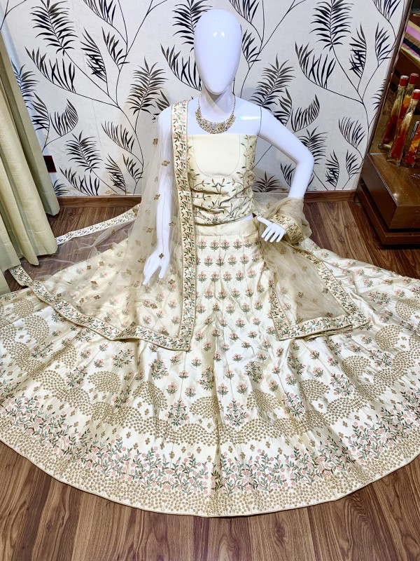 Shadow Silk Party Wear Lehenga In Cream With Embroidery & Pearl Work