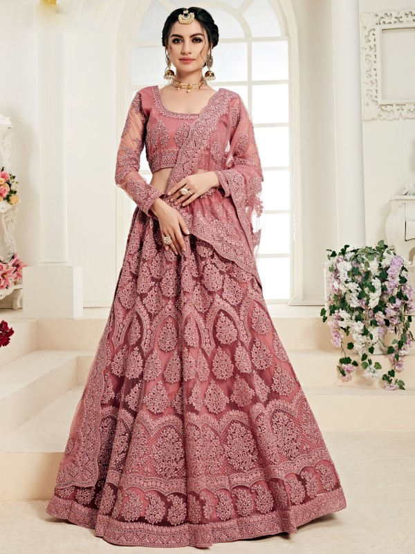 Soft Premium Net  Party Wear Lehenga In  Pink  With Embroidery Work
