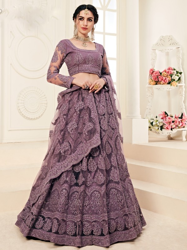 Soft Premium Net  Party Wear Lehenga In  Violet  With Embroidery Work