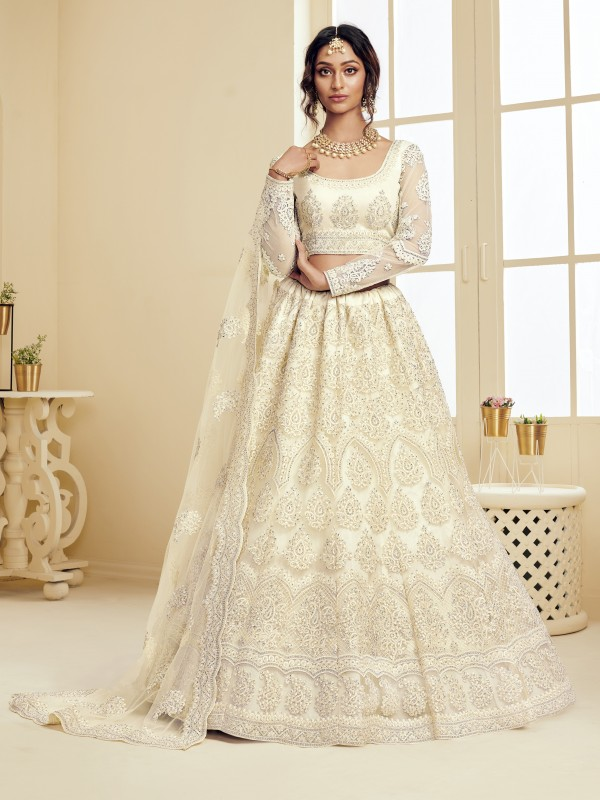 Soft Premium Net  Party Wear Lehenga In  Off White  With Embroidery Work