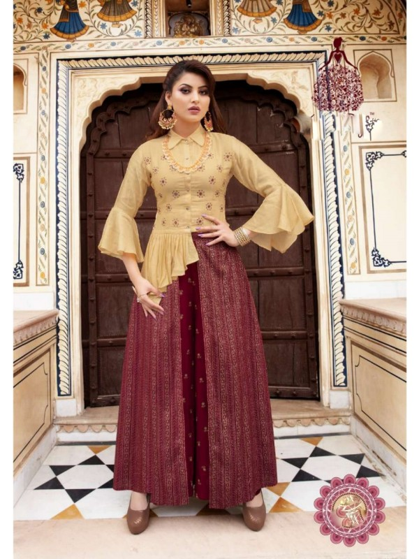 Silk Fancy Fabrics Top With Plazzo In Yellow & Pink   Color With Embroidery Work