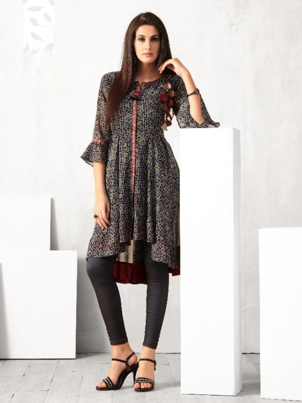 Muslin and Georgette Fabrics Top In Multi Color With Digital Print