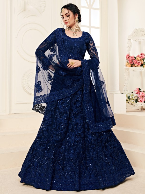 Soft Premium Net  Party Wear Lehenga In Dark Blue  With Embroidery Work