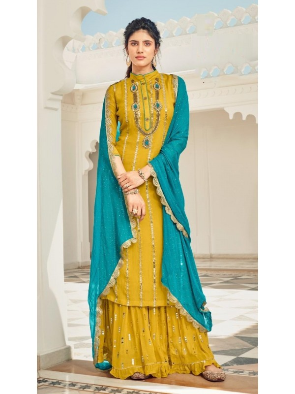Heavy Chinon Party Wear Sarara in Yellow Color with  Embroidery Work