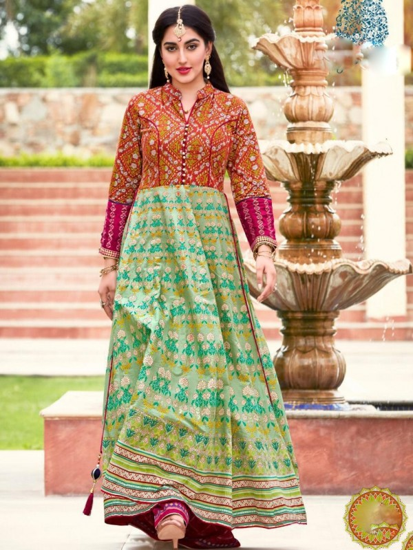 Heavy Lawn Cotton Casual Wear Top In Multi Collor With Embroidery