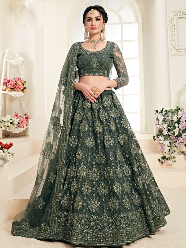 Soft Premium Net  Party Wear Lehenga In Mehendi Green With Embroidery Work