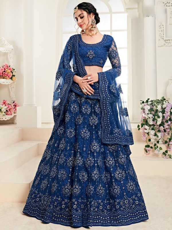 Soft Premium Net  Party Wear Lehenga In Blue With Embroidery Work