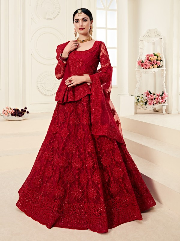 Soft Premium Net  Party Wear Lehenga In Red With Embroidery Work