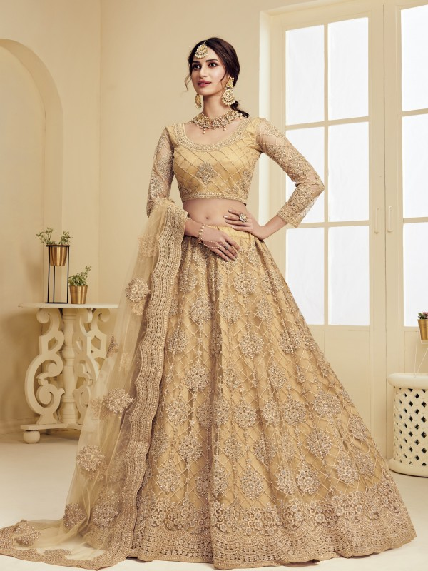 Soft Premium Net  Party Wear Lehenga In Golden With Embroidery Work