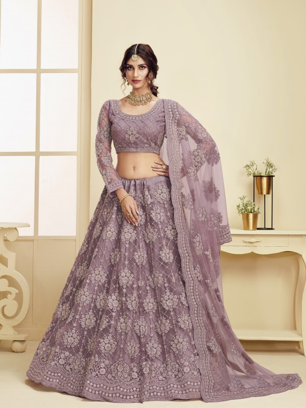 Soft Premium Net  Party Wear Lehenga In Lavender With Embroidery Work