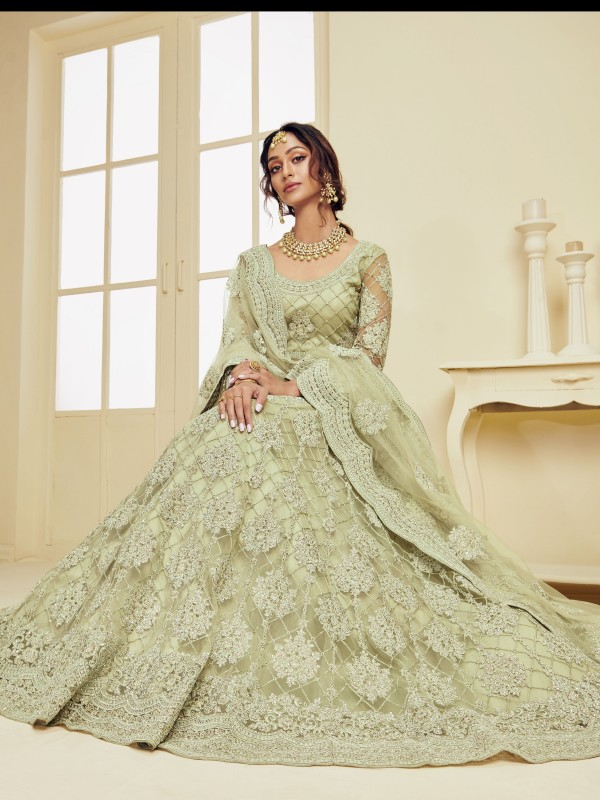 Soft Premium Net  Party Wear Lehenga In Light Green With Embroidery Work
