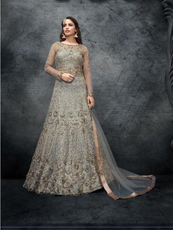 Soft Premium Net Wedding Wear Gown  In Grey Embroidery Work