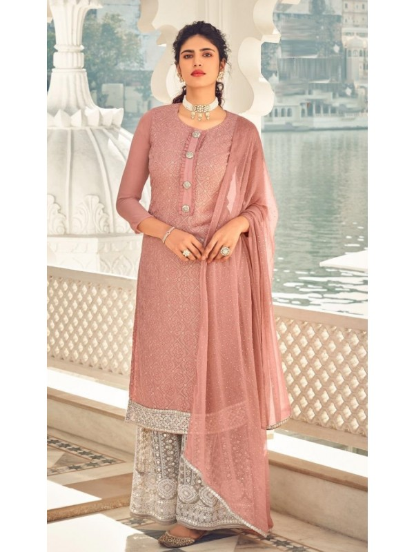 Heavy Chinon Party Wear Sarara in Dusty Pink Color with  Embroidery Work