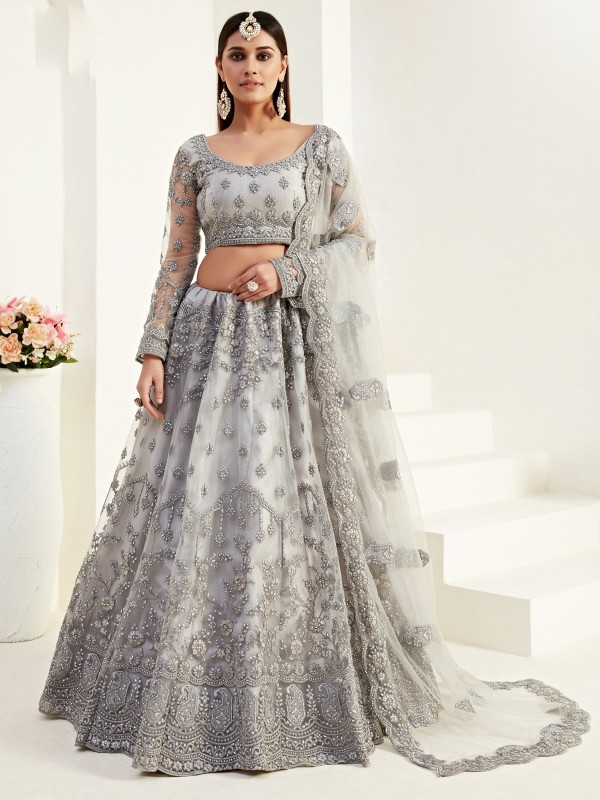 Soft Premium Net  Party Wear Lehenga In Grey Color  With Embroidery Work