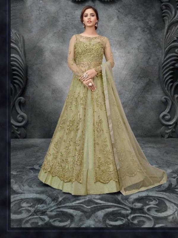 Soft Premium Net Wedding Wear Gown  In Green Embroidery Work