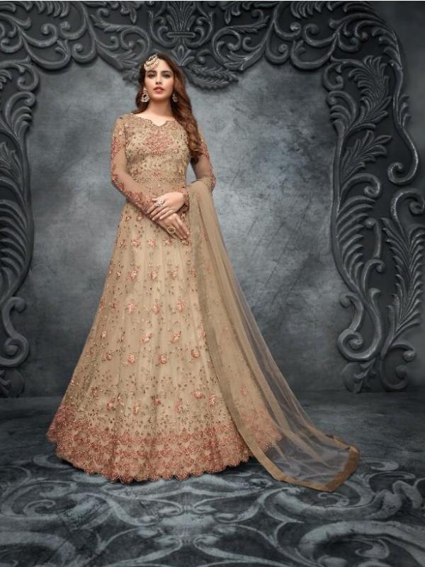 Soft Premium Net Wedding Wear Gown  In Beige Embroidery Work