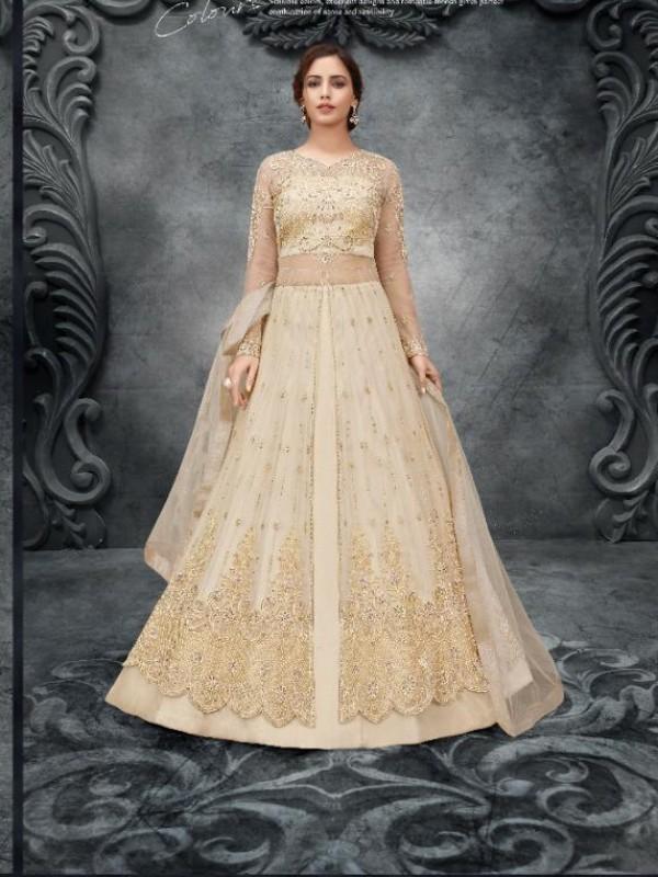 Soft Premium Net Wedding Wear Gown  In Crèam Embroidery Work