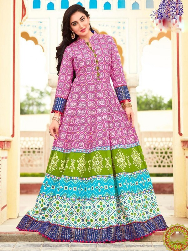 Heavy Lawn Cotton Casual Wear Top In Multi Color With Embroidery