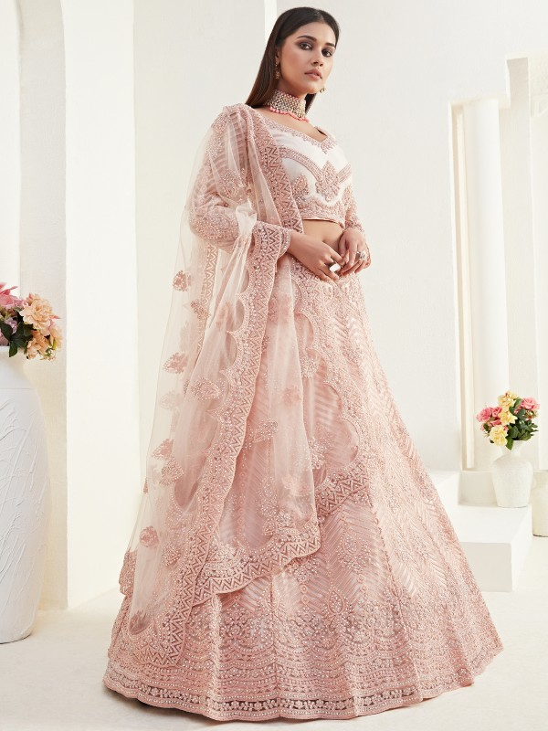 Soft Premium Net  Party Wear Lehenga In Peach Color  With Embroidery Work