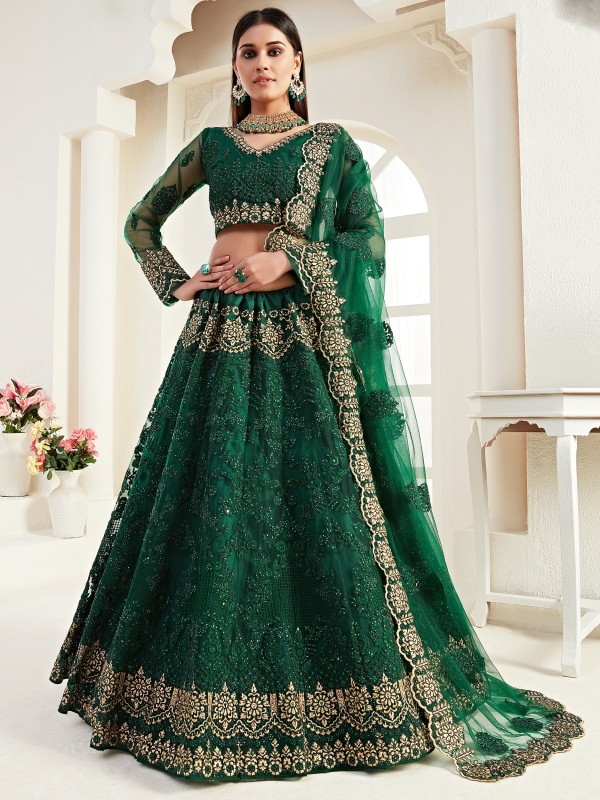 Soft Premium Net  Party Wear Lehenga In Green Color  With Embroidery Work