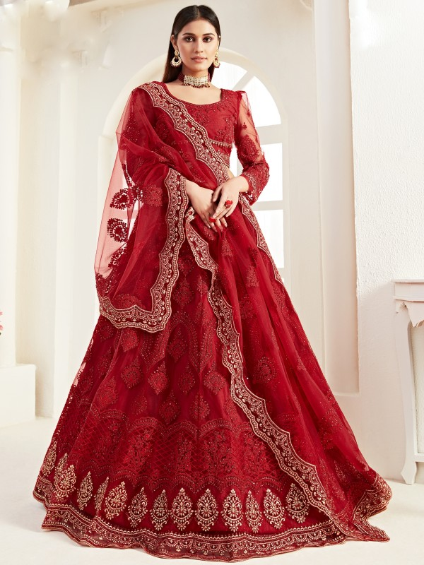 Soft Premium Net  Party Wear Lehenga In Red Color  With Embroidery Work