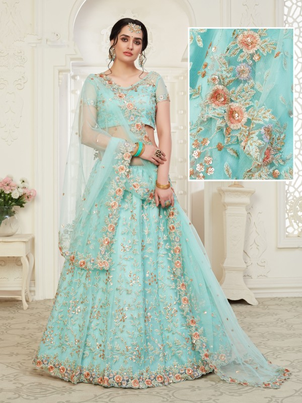 Soft premium Net  Party Wear Lehenga  Blue  Color With Embroidery Work , Stone work