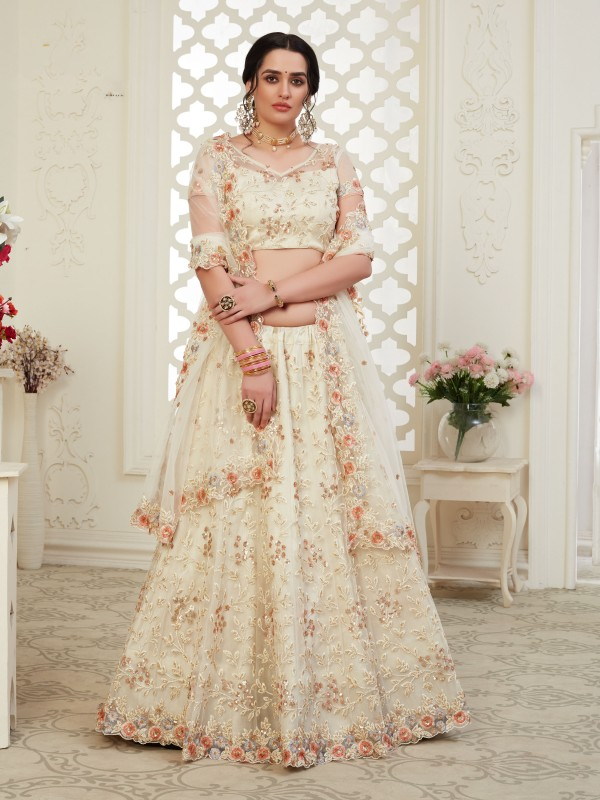 Soft premium Net  Party Wear Lehenga  Beige  Color With Embroidery Work , Stone work