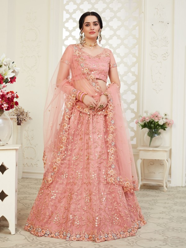 Soft premium Net  Party Wear Lehenga  Pink Color With Embroidery Work , Stone work