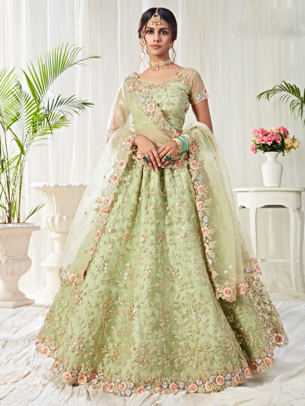 Soft premium Net  Party Wear Lehenga  Green Color With Embroidery Work , Stone work