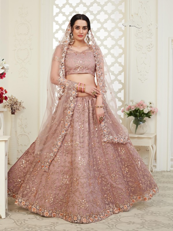 Soft premium Net  Party Wear Lehenga  Dusty Pink Color With Embroidery Work , Stone work