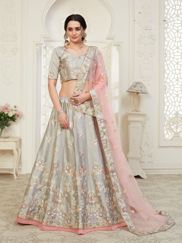 Soft Silk Party Wear Lehenga Grey Color With Embroidery Work